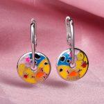 RainMarch Cartoon Enamel Silver Earrings For Girls 925 Sterling Silver Earring <b>Handmade</b> Enamel Party <b>Jewelry</b>