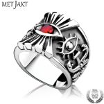 MetJakt Eye of Horus Vintage Rings with Ruby Solid 925 <b>Sterling</b> <b>Silver</b> Ring Handmade Holy Ancient Egyptian Protector <b>Jewelry</b>
