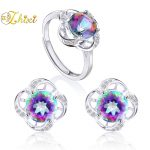 ZHIXI 925 Sterling <b>Silver</b> Jewelry Sets Natural Colorful Topaz Gemstone <b>Earring</b> Ring Fine Vintage Gift For Women T240EJ