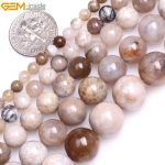Gem-inside 4-12mm Natural Stone Beads Round Gray Ocean Fossils Agates Stone Beads For <b>Jewelry</b> <b>Making</b> Beads 15inch DIY Beads