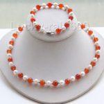 Women's Wedding shipping>>Genuine 18″ 8″ round white pearls red stone necklace bracelet set e2319 silver jewelr