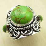 <b>ANTIQUE</b> STYLE GREEN COPPER Turquois Ring Size US 6 ! Silver Plated NEW India <b>Jewelry</b>