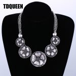 TDQUEEN Ethnic Bohemian <b>Antique</b> Silver Metal Flower Necklace Pendant Wholesale Fashion <b>Jewelry</b> Maxi Statement Choker Necklace