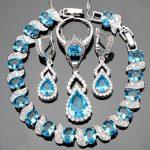 Blue Stones Silver 925 <b>Jewelry</b> Sets Women <b>Wedding</b> Jewelery With White Zircon Bracelets/Pendant/Earrings/Rings Set Free Gift Box