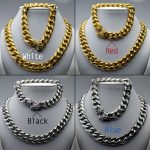 Set mens necklace and <b>bracelet</b> in stainless steel chain 60cm; <b>bracelet</b> 22cm Gold tone and <b>silver</b> tone N333,334,335,336