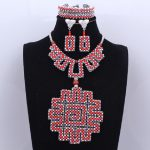 African Beads Jewelry Set Red And <b>Silver</b> Nigerian Wedding Bridal Jewelry Set 100% Handmade Necklace Set Free Shipping 2018 New
