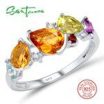 SANTUZZA Silver Rings For Women 925 Sterling Silver Gorgeous Multi Gem Stones Rings Female Fancy Bague Bijoux Fashion <b>Jewelry</b>