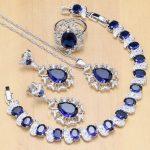 Hyperbole Blue Zircon Stone White CZ 925 Sterling <b>Silver</b> Jewelry Sets For Women Wedding Earrings/Pendant/Necklace/Rings/<b>Bracelet</b>
