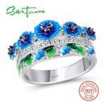 SANTUZZA <b>Silver</b> Ring For Women 925 <b>Sterling</b> <b>Silver</b> Exquisite Blue Blooming Flower Cubic Zirconia Ring Fashion <b>Jewelry</b> Enamel