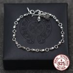 S925 sterling <b>silver</b> men's <b>bracelet</b> personalized classic punk style hip-hop skull can adjust the shape to send lover's gift