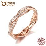 BAMOER Authentic 925 Sterling Silver Twist Of Fate Clear CZ Women Rings Wedding <b>Jewelry</b> Birthday Gift PA7187