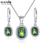 ELESHE Genuine Rainbow Fire Mystic Cubic Zirconia Earrings/Pendant Necklace Sets Pure Solid 925 Sterling Silver <b>Jewelry</b> Sets