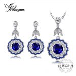 JewelryPalace Flower 13ct Created Sapphire Pendant Necklace Dangle <b>Earrings</b> 925 Sterling <b>Silver</b> 45cm Chain Vintage Jewery Sets