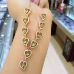Natural green peridot Necklace Natural olivine Pendant Necklace 925 sliver women Luxury romantic Heart Peach women <b>Jewelry</b>