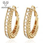 Viennois Gold Color Hoop Earrings for Women Silver Color Dot Hollow Earrings Female Earrings Trendy <b>Jewelry</b>