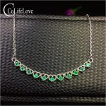 Elegant emerald necklace for wedding 11pcs 2mm natural emerald <b>silver</b> necklace 925 <b>sterling</b> <b>silver</b> emerald <b>jewelry</b> gift for girl