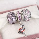 Fits Pandora Charms Bracelet and <b>Necklace</b> 925 Sterling <b>Silver</b> Charm Sets Sparkling Lovely Beads Women DIY design Drop Shipping