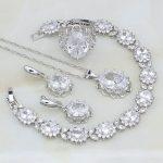 Crown White Australian Crystal 925 Sterling <b>Silver</b> Jewelry Sets For Women Engagement <b>Bracelets</b>/Necklace/Pendant/Earrings/Ring