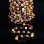 8mm Natural Mookaite Round Bead Brass Rosary Chain,Jasper Copper Wire Wrapped Chain,DIY Fashion Necklace Bracelet <b>Jewelry</b> <b>Making</b>