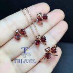 TBJ, 100% natural garnet jewelry set in 925 sterling <b>silver</b> with gift box,natural garnet heart shape design