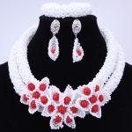 Wonderful White African Beads <b>Jewelry</b> Set With <b>Handmade</b> Flowers Nigerian Wedding Beads Bib Statement Necklace Set Women <b>Jewelry</b>