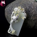 Original Design Mother's Gifts CZ Lucky Animal Magpie Necklace Pendant With Natural White Jade Handmade Flower Leaf <b>Jewelry</b> SP28