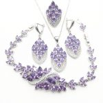 Trendy Water Drop Purple Cubic Zirconia White CZ 925 Sterling <b>Silver</b> Jewelry Sets For Women Earrings/Pendant/Necklace/<b>Bracelet</b>