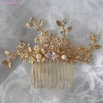Jonnafe Baroque Headpiece For Women Gold Floral Wedding Small Hair Comb Handmade Bridal <b>Jewelry</b> Hair Accessories