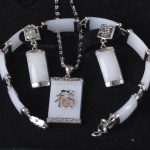 real silver-<b>jewelry</b> Women's Wedding Natural White gem Inlay Link Bracelet earrings Necklace Pendant Set silver <b>jewelry</b>