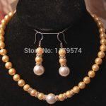 hot new Fashion 8-12MM Yellow/White Sea Shell Pearl Necklace +Earrings <b>Jewelry</b> Sets DIY Fashion <b>Jewelry</b> <b>Making</b> Design AAA hp016