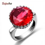 Szjinao Wholesale Princess Crown Big Rings for Women Round Red RubyWedding Engagement Punk Rock 925 Sterling <b>Silver</b> <b>Jewelry</b>