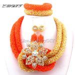 2017 New Orange African Beads <b>Jewelry</b> set dubai Women choker <b>Necklace</b> net indian Nigerian Wedding bridal <b>jewelry</b> set L1035