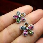 Natural multicolor tourmaline stud earrings 925 <b>silver</b> natural gemstone earrings Luxury flowers women's party Earrings <b>jewelry</b>