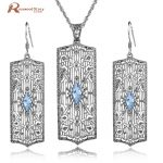 Real 925 Sterling Sliver Sets Popular Charming Sky Blue Stones Crystal Fashion Jewelry Set for Women Vintage Pendant <b>Earrings</b>