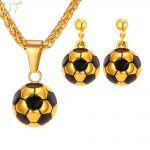U7 Soccer Football Necklace Set For Women Sport Lover Stainless Steel Pendant Necklace & Earrings Gold Color <b>Jewelry</b> Sets S870