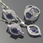 Blue Zircon Women 925 Silver Costume <b>Jewelry</b> Sets Wedding Earrings With Stones Pendant&Necklace Rings Set Jewellery Gift Box