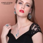 Kindlegem Exquisite 925 Sterling <b>Silver</b> Fine Jewelry Set Charms Blue Green Crystal Pendant Necklace <b>Earrings</b> Ring For Women