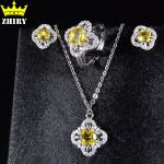Women Natural Citrine Gem Stone Jewelry Set Ring Necklace Pendant <b>Earrings</b> Solid Sterling <b>Silver</b> Lady