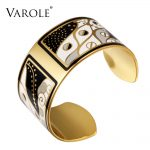 VAROLE 36mm Width Gold Color Colorful Copper Bangles & Bracelets Bangle for Women Cuff Bracelet Pulseiras Enamel <b>Jewelry</b>