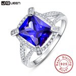 JQUEEN Luxury 5ct Blue Sapphire Ring Solid 925 Sterling <b>Silver</b> <b>Jewelry</b> Emerald Design Fabulous Charm Brand Hot Sale For Women