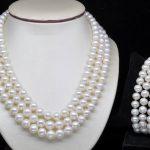 Prett Lovely Women's Wedding charm Jew.656 Natural Triple Strand AA 7-8mm White pearl Set necklaces&bracelets