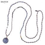 KELITCH <b>Jewelry</b> Buddha Pendant Necklace Long Chain Silver Beads Crystal Strand <b>Handmade</b> Necklace