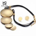 Kalen Big Round Pendant Necklace & Earrings <b>Jewelry</b> Set Women <b>Fashion</b> Stainless Steel Gold Pendant Leather Choker Necklace Set