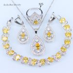 L&B Yellow Orange White Rhinestone Water Drop 925 <b>Silver</b> Color Drop Earrings/<b>Bracelet</b>/Pendant/Necklace/Rings Jewelry Set