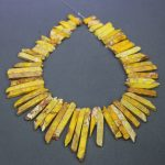 Yellow Imperial Emperor Stone Necklace Beads, Sediment Slice Pendant, Top Drilled Slab Women Fashion Accessories <b>Jewelry</b> <b>Making</b>