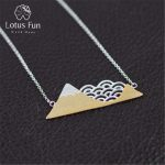 Lotus Fun Real 925 Sterling Silver <b>Handmade</b> Designer Fine <b>Jewelry</b> Poetic Cloud Mountain Necklace with Pendant for Women Collier