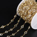 6mm Clear Crystal Faceted Coin Bead Copper Chian,Glass Link Brass Wire Wrapped Rosary Chian DIY Charms <b>Necklace</b> <b>Jewelry</b>