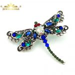 Vintage Filigree Green and Blue Crystal Dragonfly Brooches Silver Tone Scroll Red Eyes <b>Antique</b> Dragonfly Pins for Insect <b>Jewelry</b>