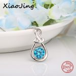 2018 new design 925 sterling silver infinite pendant chain necklace with blue CZ diy fashion <b>jewelry</b> <b>making</b> for women gifts