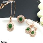 KJJEAXCMY Fine jewelry, Colorful jewelry, natural and Tian Biyu set of women, luxury generous wholesale